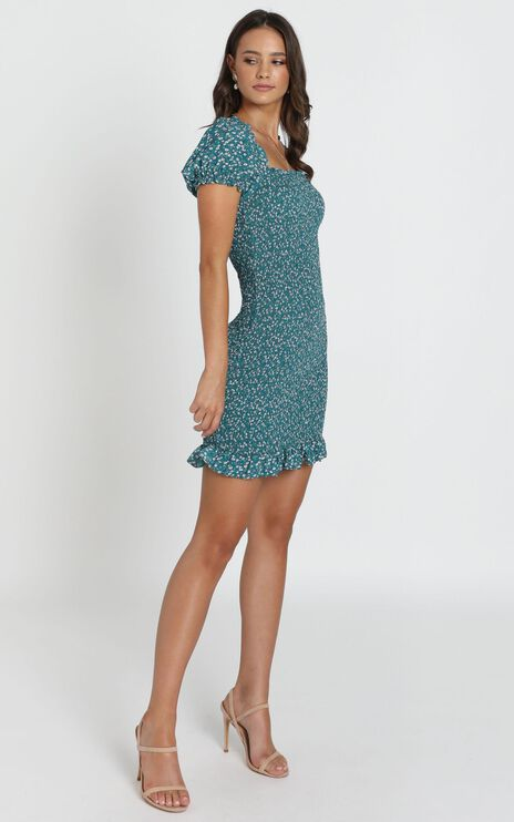 Gemma Ruched Dress in Teal Floral