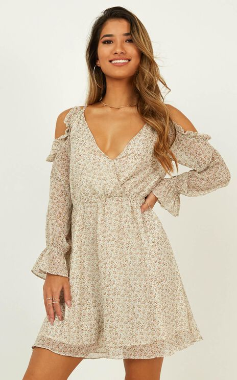Where You Were Dress In Cream Floral