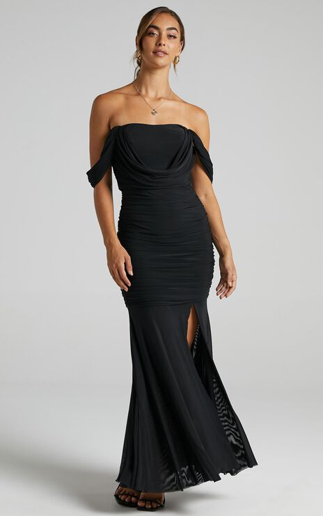 Melissa Ruched Maxi Dress in black mesh