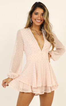 Lets Run Away Playsuit In Blush