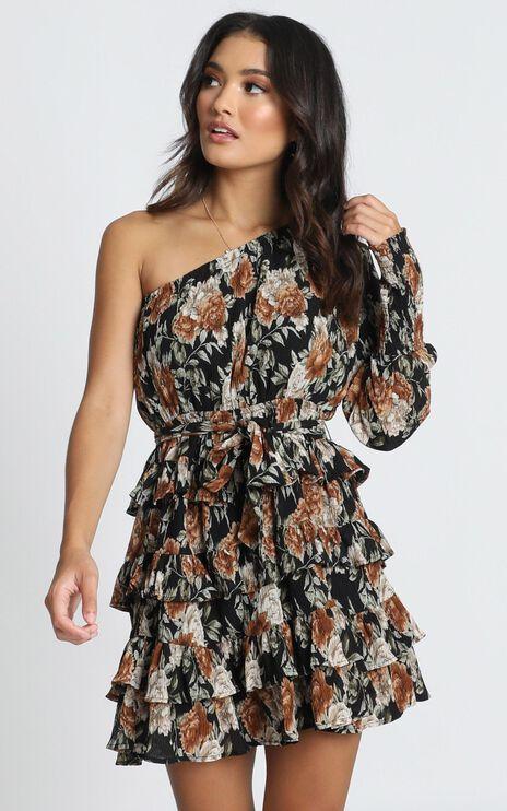 Mckenzie Mini Dress In Black Floral
