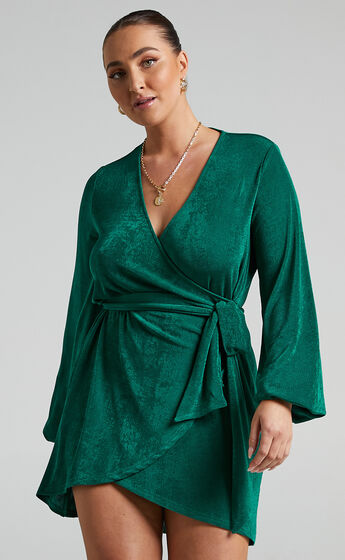 Kayley Wrap Centre Tie Mini Dress in Forest Green