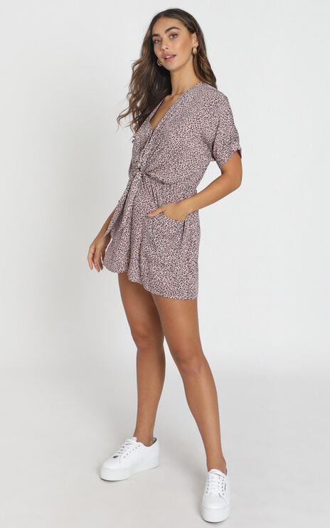 Ruthie Playsuit in Pink Leopard