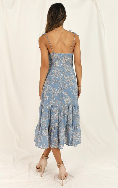 Quit Talking Dress In Blue Floral - 16 (XXL), Blue, hi-res image number null