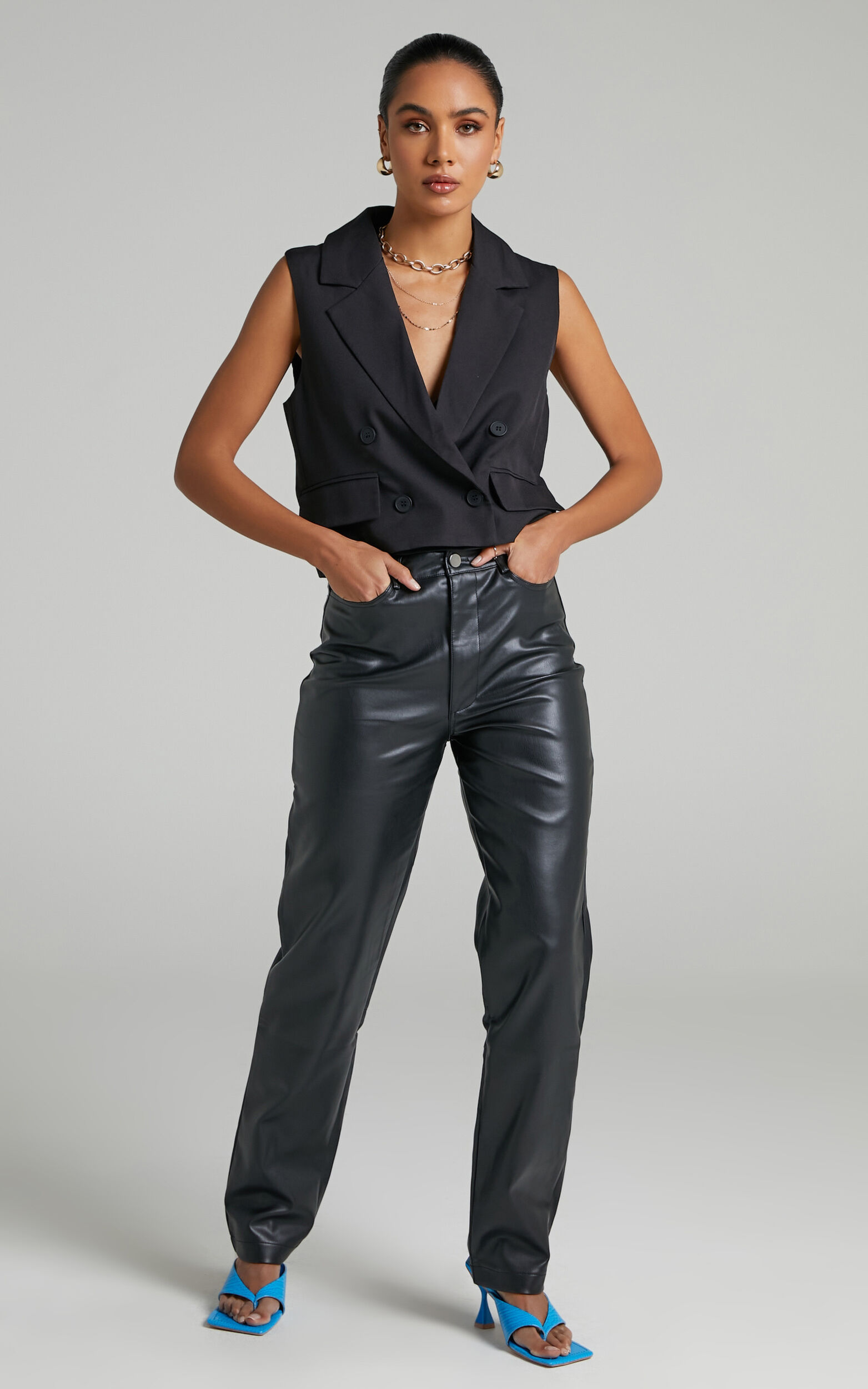 Sera Button up Waistcoat in Black - 06, BLK1, super-hi-res image number null