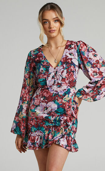 Andire Long Sleeve Frilled Hem Wrap Dress in Amorous Floral
