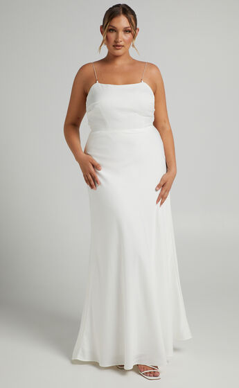 Entwined Dreams Pearl Strap Bridal Gown with Cowl Back in Ivory