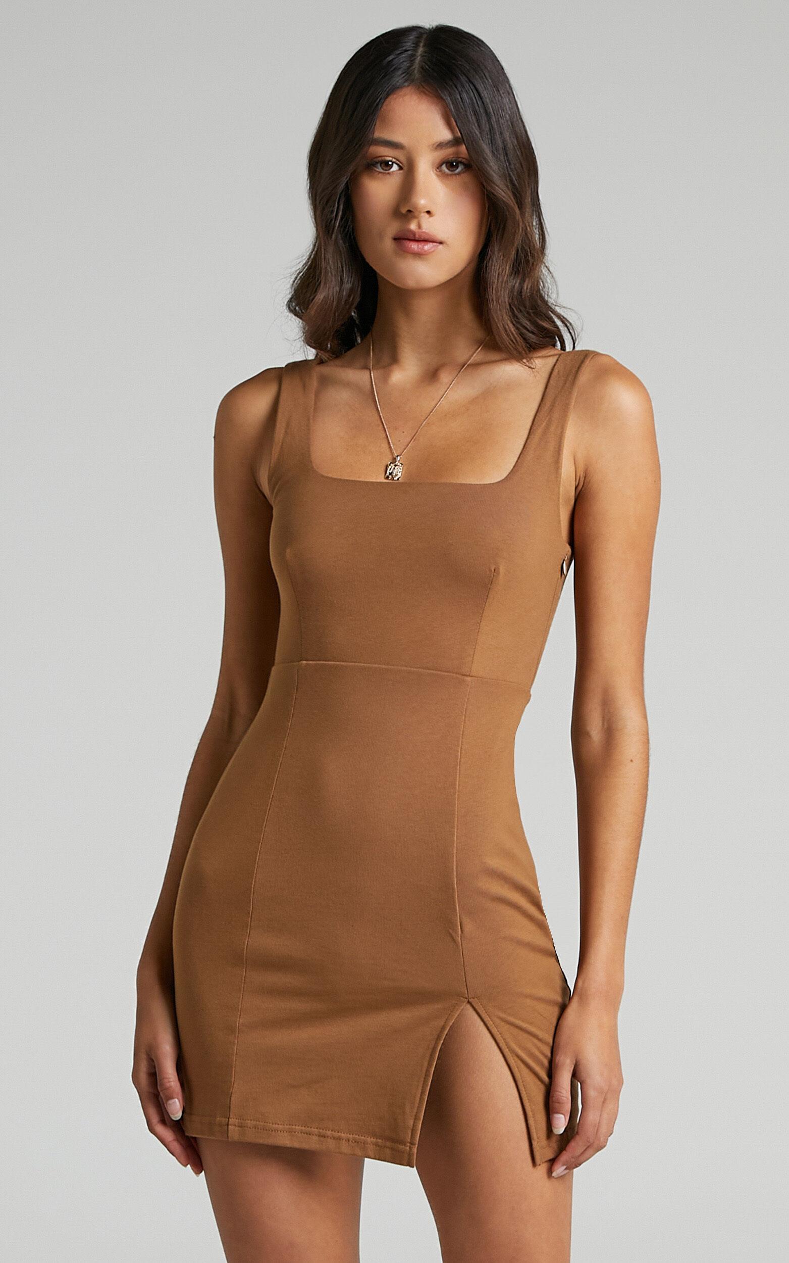 Hughes Square Neck Mini Dress in Chocolate - 06, BRN2, super-hi-res image number null