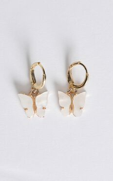 Butterfly Drop Earrings In White