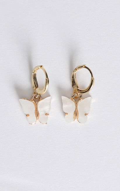 Butterfly Drop Earrings In White, , hi-res image number null