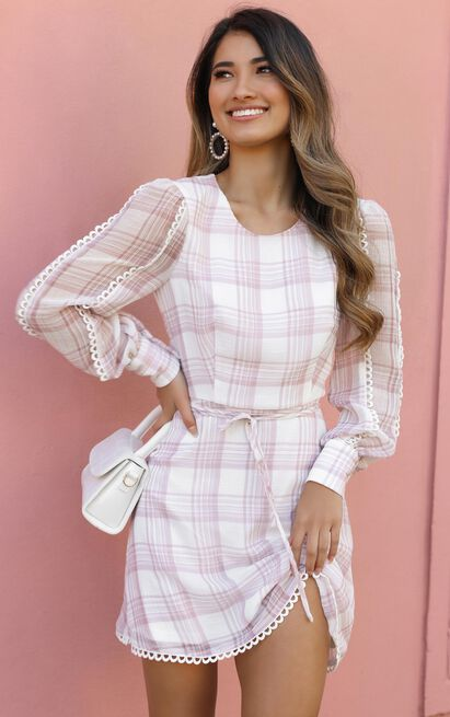 Setting rules Dress in dusty rose check - 20 (XXXXL), Blush, hi-res image number null