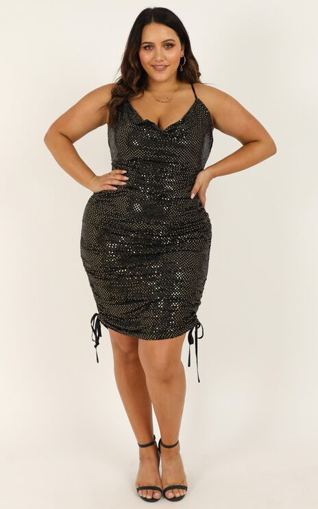 Bringing The Party Dress In Black Sparkle