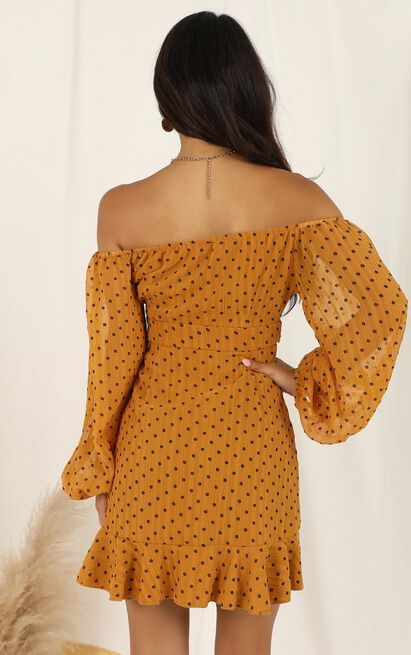 You Are Such A Dream Dress In mustard flocked spot - 12 (L), Mustard, hi-res image number null
