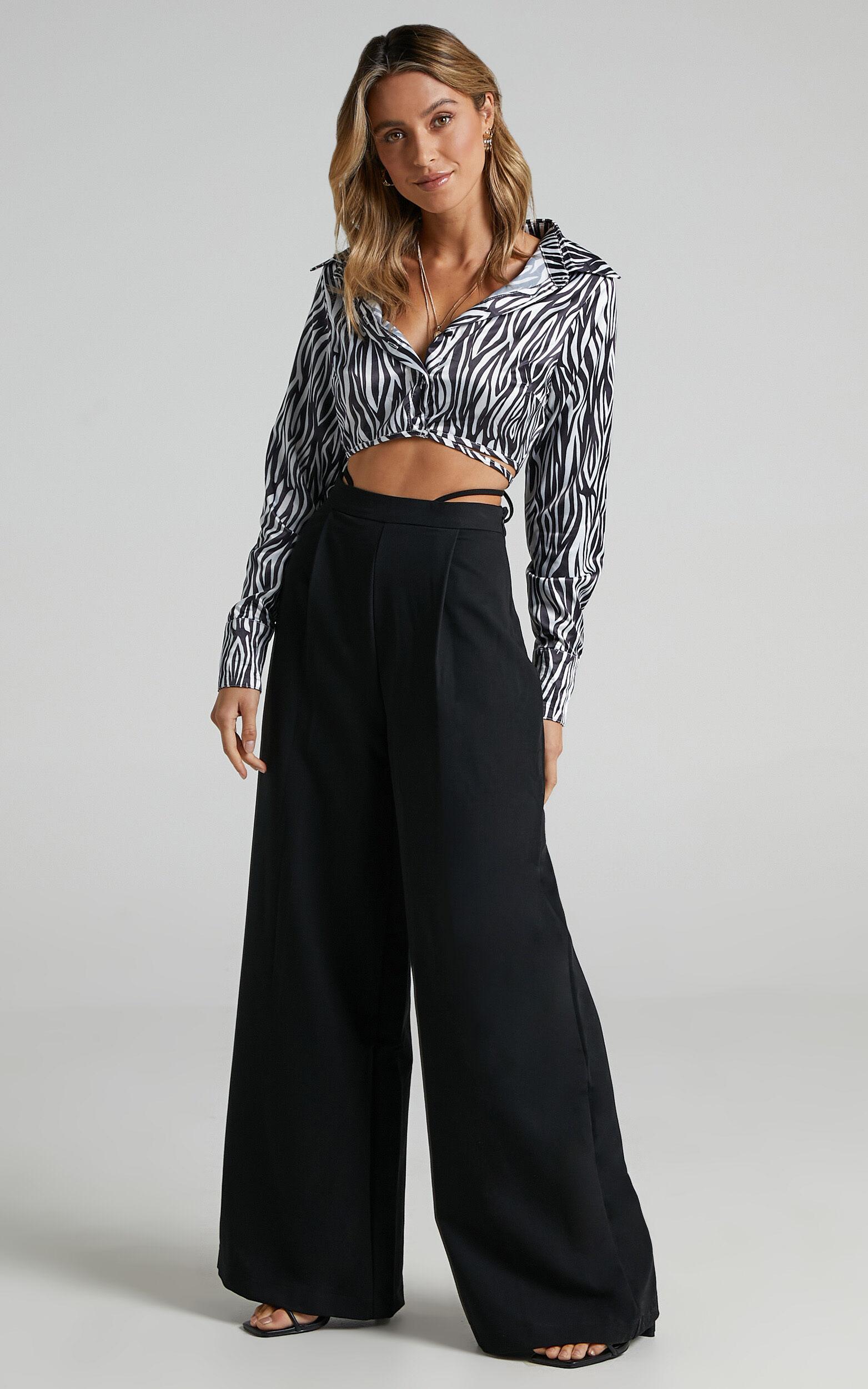Catie Tie Waist Detail Pants in Black - 06, BLK1, super-hi-res image number null