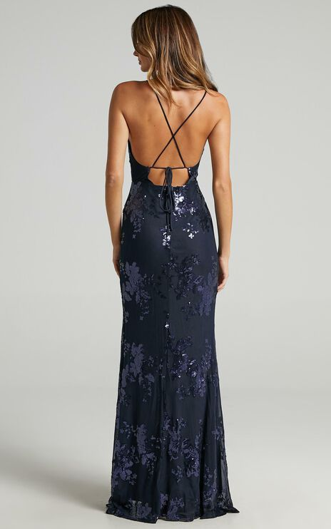 Out Till Dawn Maxi Dress In Navy Sequin