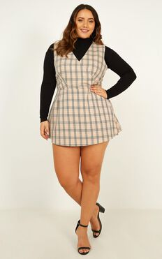 Meaning Of Us Playsuit In Beige Plaid