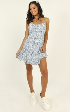 Sail On The Water Dress In Blue Floral