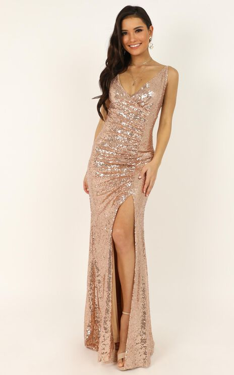 My Kind Of Occasion Dress In Gold Sequin