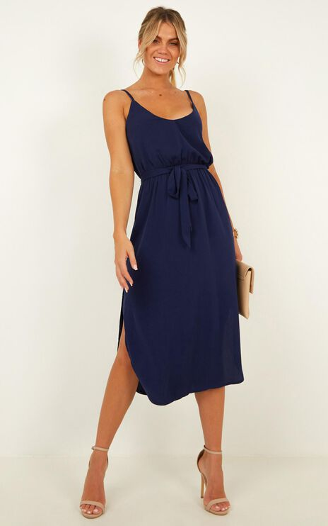 Straight For You Dress In Navy