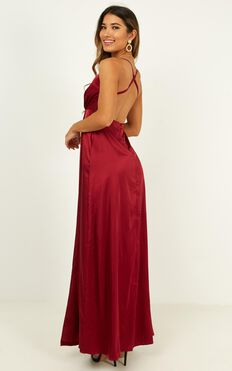 Wild Instinct Maxi Dress In Wine Satin