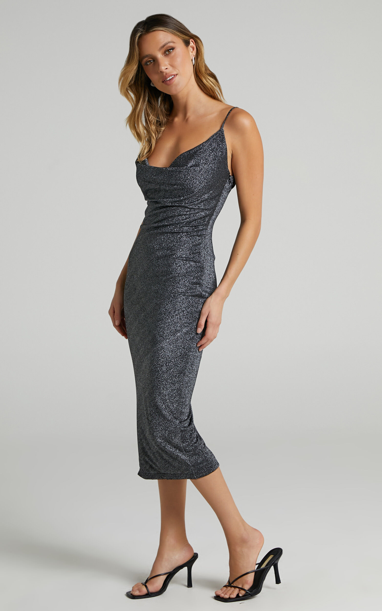 Amaliee Cowl Front Midi Dress in Black Lurex - 04, BLK1, super-hi-res image number null