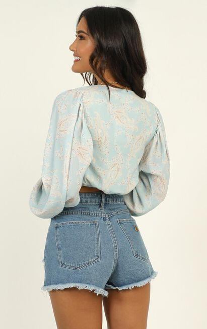 Under Lock and Key top in blue paisley  - 14 (XL), Blue, hi-res image number null