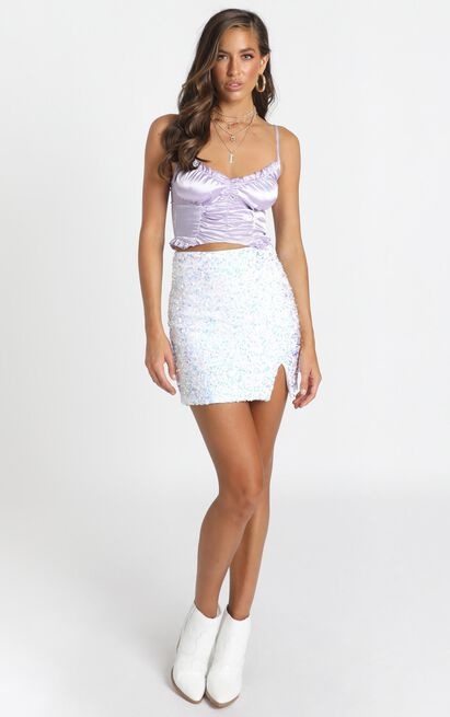 Everything We Need Skirt in silver sequin - 20 (XXXXL), Silver, hi-res image number null