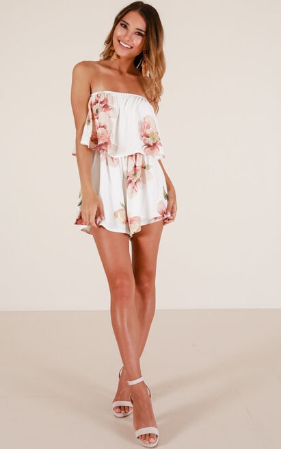 Keep Calm playsuit in white floral - 12 (L), White, hi-res image number null