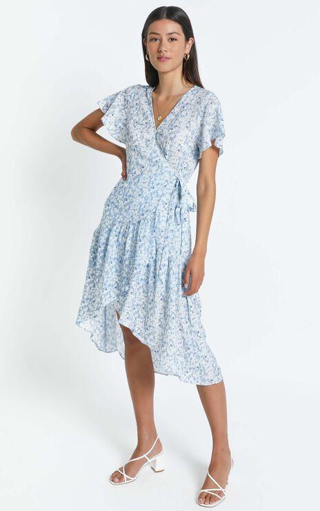 Trinny Dress in Blue Floral