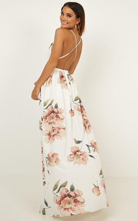 Shine Through Maxi Dress In White Floral