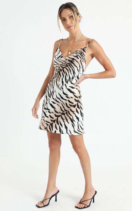 Geenie Slip Dress In Tiger Print