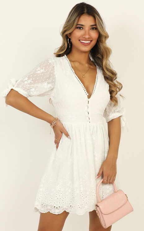 See The World Dress In White Embroidery