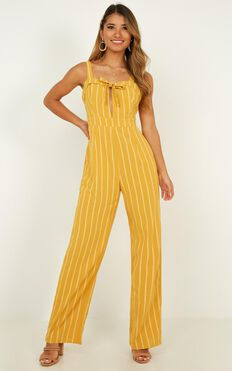Moonlight Shined Jumpsuit In Mustard Stripe