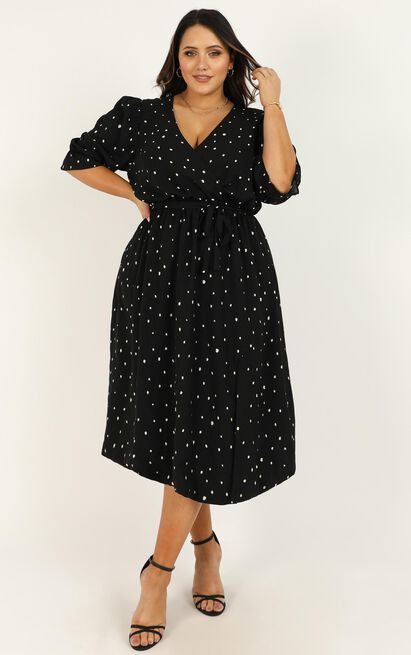 Feeling It Now Dress in black spot - 20 (XXXXL), Black, hi-res image number null
