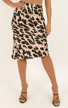 Wild Spirit Midi Skirt In Leopard Print Satin