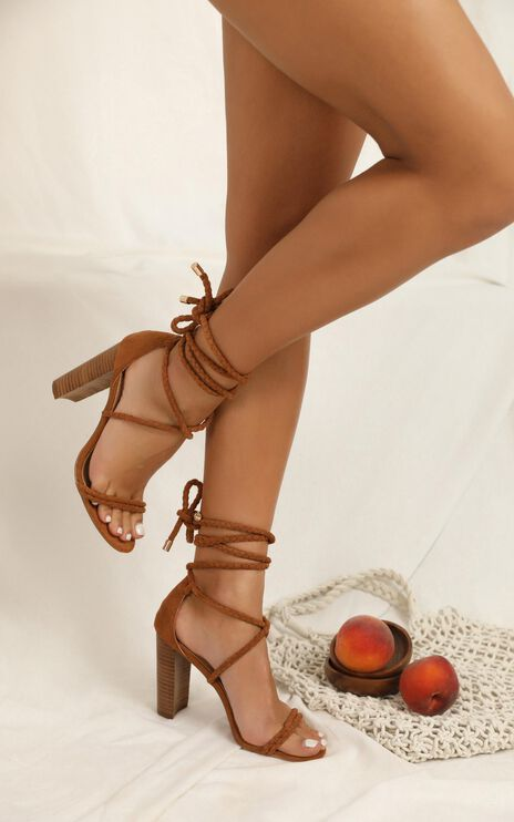 Showpo X Billini - Burano Heels In Chestnut Micro