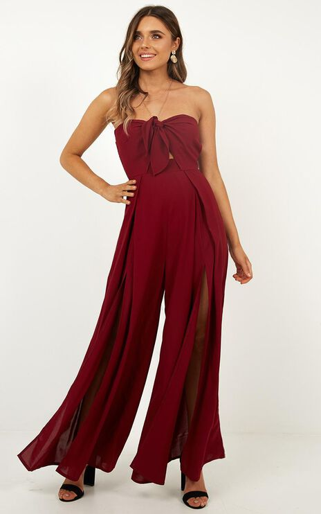 Touch Too Much Jumpsuit In Wine