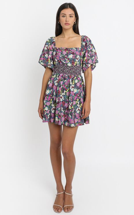 Phoebe Ruched Mini Dress in Forest Floral