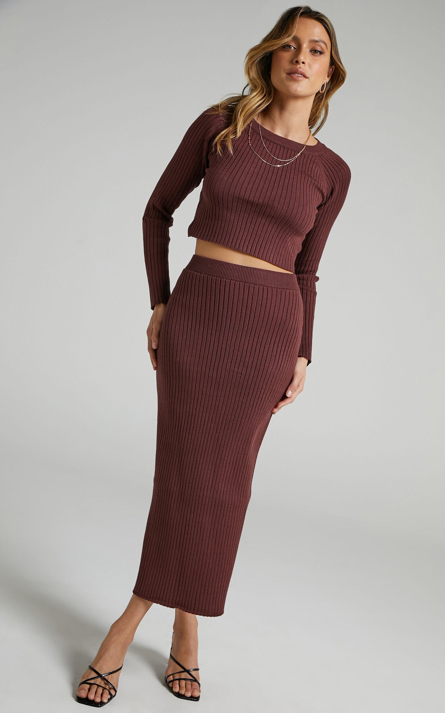 Yolanda Midi Knit Skirt in Chocolate - L, BRN1, super-hi-res image number null