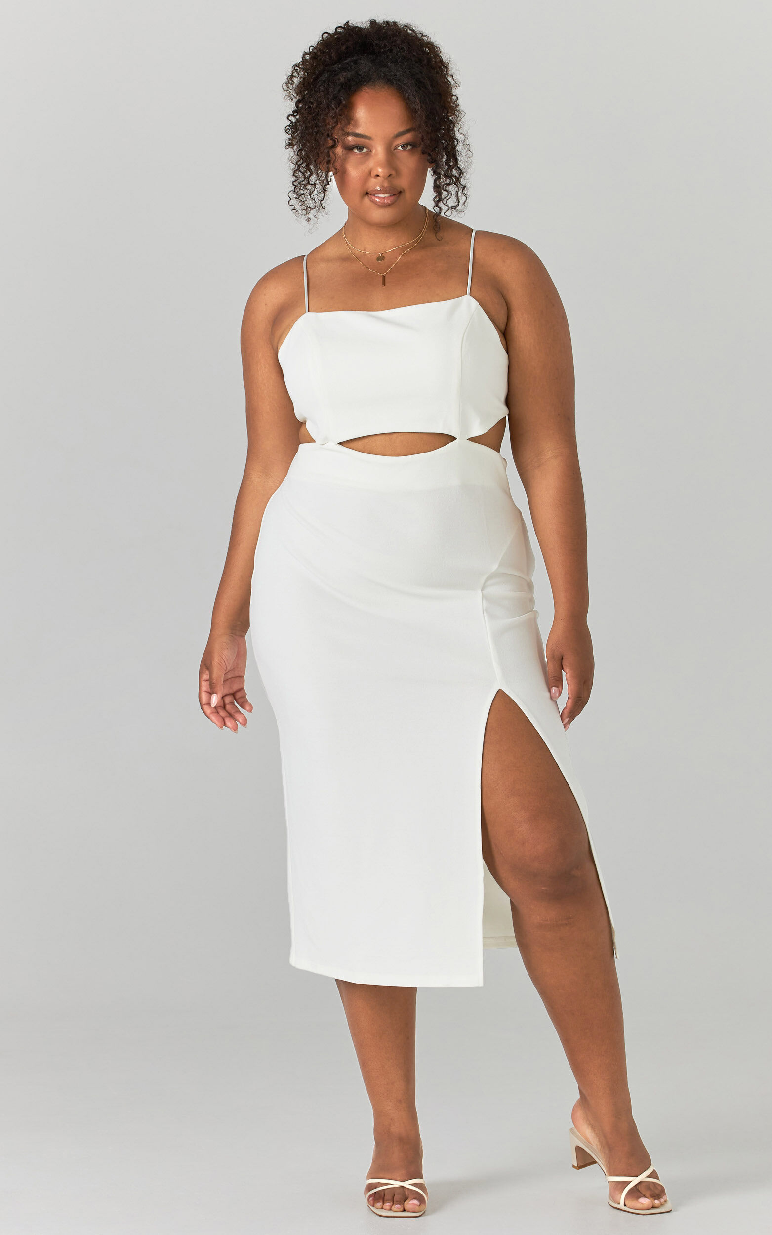 Harper Cut Out Underbust Dress in White - 04, WHT3, super-hi-res image number null