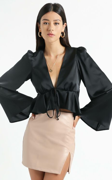 Dance It Out Top in Black Satin