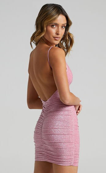 Party Lights Dress In Pink Lurex