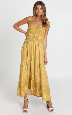 Elise Dress In Mustard Print