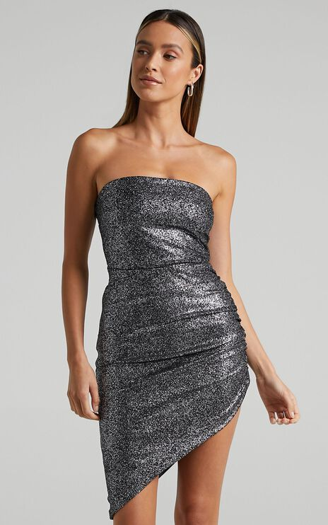 Nights Sparkle Mini Dress in black sparkle