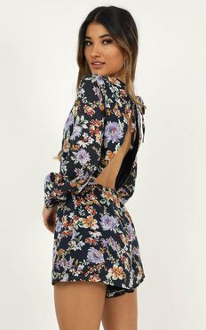 Calling You Out Playsuit In Navy Floral
