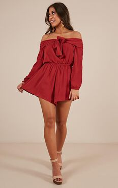 I Like That Playsuit In Chilli Linen Look