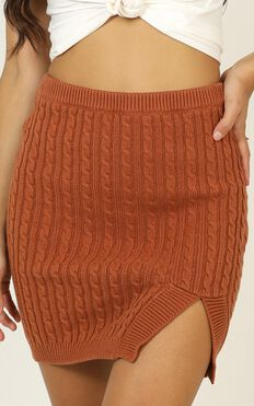 Be With Me Knit Skirt In Rust
