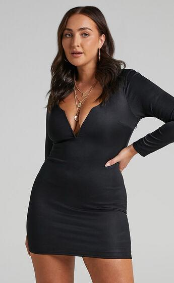Courteney Mini Bodycon V Neck Dress in Black