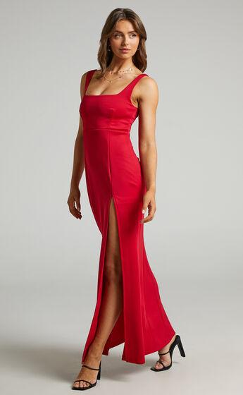 Raquelle Square Neck Thigh Split Maxi Dress in Red