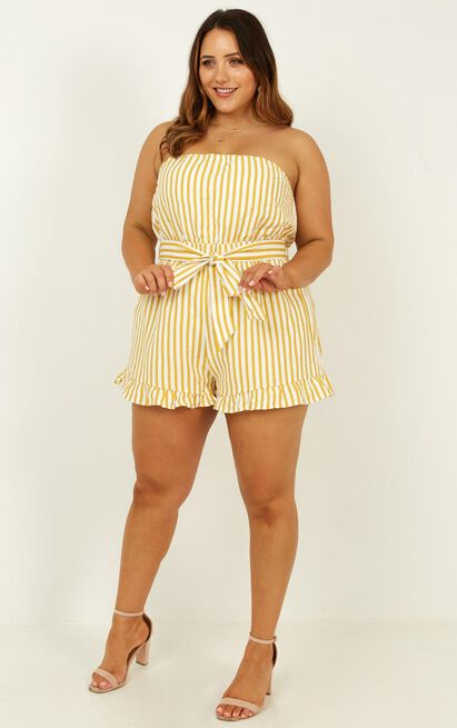 Done Deal Playsuit in mustard stripe - 20 (XXXXL), Mustard, hi-res image number null